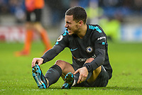 Eden Hazard of Chelsea (10) penalty appeal and injurers  his foot  during the Premier League match between Brighton and Hove Albion and Chelsea at the American Express Community Stadium, Brighton and Hove, England on 20 January 2018. Photo by Edward Thomas / PRiME Media Images.
