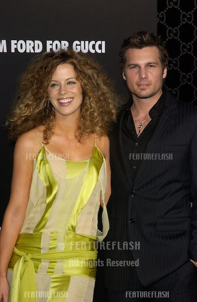 Actress KATE BECKINSALE & fiancé director LEN WISEMAN at the Rodeo Drive Walk of Style Gala honoring Gucci's Tom Ford..March 28, 2004