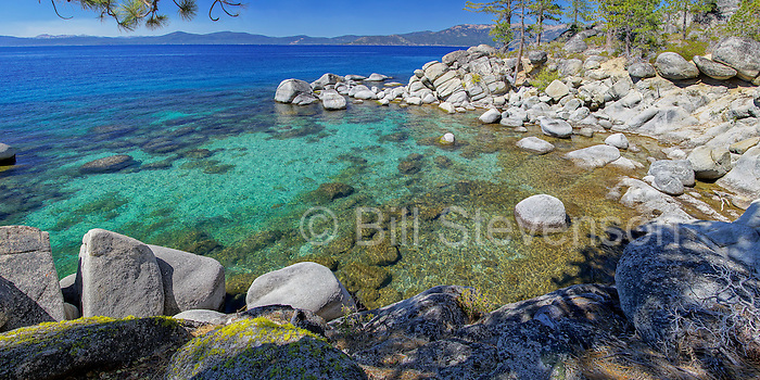 A quiet cove on the east shore of Lake Tahoe in Nevada. Lake Tahoe is the second deepest lake in the United States at 1645 feet. This seldom visited cove is not on any trail and requires some difficult cross country hiking to get to.
