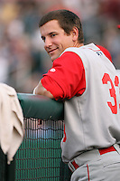 July 31st, 2007:  Chris Fourmier of the Brooklyn Cyclones, Short-Season Class-A affiliate of the New York Mets a Edward LeLacheur Park in Lowell, MA.  Photo by:  Mike Janes/Four Seam Images
