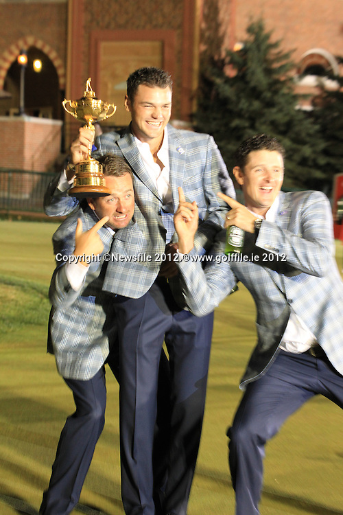 Winning European Team Players Martin Kaymer (GER) Justin Rose (ENG) and Graeme McDowell (NIR) after Sunday's Singles Matches of the 39th Ryder Cup at Medinah Country Club, Chicago, Illinois 30th September 2012 (Photo Colum Watts/www.golffile.ie)