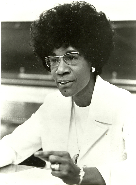 UNITED STATES: File photo - Rep. Shirley Chisholm (D-N.Y..), a founding member of the Congressional Black Caucus. (Photo courtesy of the Moorland-Springarn Research Center, Howard University).