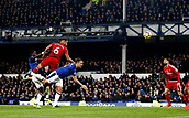 5th November 2017, Goodison Park, Liverpool, England; EPL Premier League Football, Everton versus Watford; Adrian Mariappa of Watford fires in his header as Phil Jagielka of Everton challenges