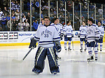 February 20, 2016 - Colorado Springs, Colorado, U.S. -   Air Force goal keeper, Chris Dylewski #33, is recognized on Senior Night prior to an NCAA ice hockey game between the Robert Morris University Colonials and the Air Force Academy Falcons at Cadet Ice Arena, United States Air Force Academy, Colorado Springs, Colorado.  Air Force defeats Robert Morris 4-1
