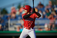Batavia Muckdogs left fielder Michael Donadio (7) at bat during a game against the West Virginia Black Bears on July 3, 2018 at Dwyer Stadium in Batavia, New York.  Batavia defeated West Virginia 5-4.  (Mike Janes/Four Seam Images)