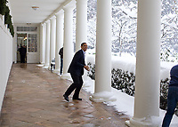 "Dec. 19, 2009<br /> ""Snowball in hand, the President chases Chief of Staff Rahm Emanuel on the White House colonnade. To escape, Rahm ran through the Rose Garden, which unfortunately for him, was knee-deep in snow.""<br /> (Official White House photo by Pete Souza)<br /> <br /> This official White House photograph is being made available only for publication by news organizations and/or for personal use printing by the subject(s) of the photograph. The photograph may not be manipulated in any way and may not be used in commercial or political materials, advertisements, emails, products, promotions that in any way suggests approval or endorsement of the President, the First Family, or the White House."