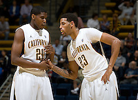 Kahlil Johnson of California talks with Allen Crabbe of California during the game against SFSU at Haas Paviliion in Berkeley, California on November 6th, 2012.  California defeated San Francisco State, 89-80.