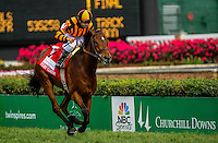 Little Mike, with Joe Bravo in the irons, wins the Woodford Reserve Turf Classic Stakes on Kentucky Derby Day at Churchill Downs in Louisville, Kentucky on May 5, 2012.