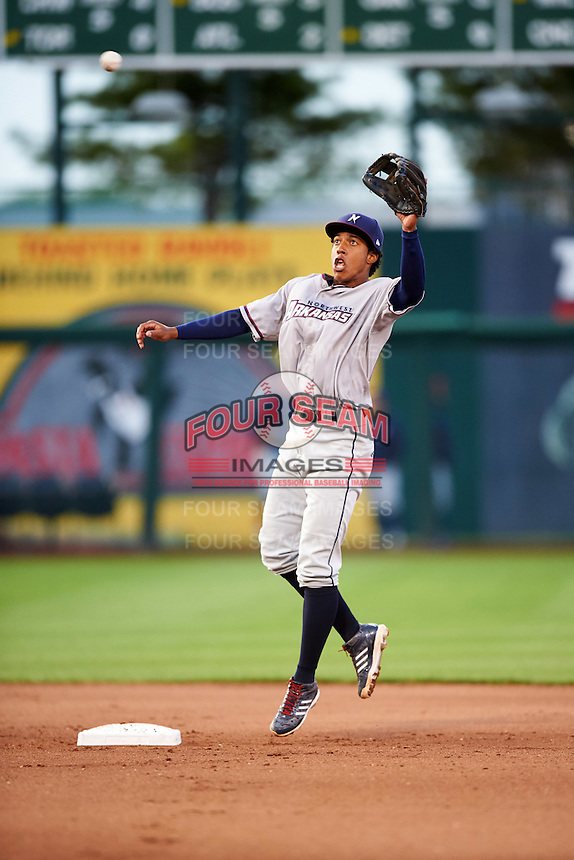 Northwest Arkansas Naturals second baseman Raul Mondesi (27) jumps for a throw during warmups in between innings during a game against the Springfield Cardinals on April 26, 2016 at Hammons Field in Springfield, Missouri.  Northwest Arkansas defeated Springfield 5-2.  (Mike Janes/Four Seam Images)