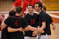 STANFORD, CA - January 2, 2018: JP Reilly, Eric Beatty, Russell Dervay, Jacob Thoenen, Kevin Rakestraw at Burnham Pavilion. The Stanford Cardinal defeated the Calgary Dinos 3-1.