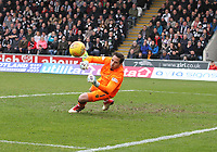 Neil Alexanderwatching as the ball goes wide in the St Mirren v Livingston Scottish Professional Football League Ladbrokes Championship match played at the Paisley 2021 Stadium, Paisley on 14.4.18.