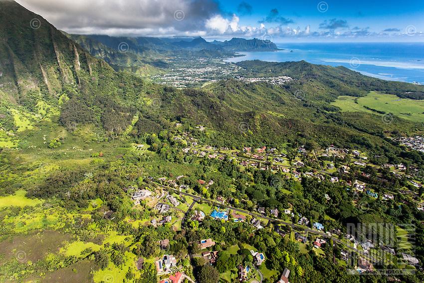 An aerial view of He'eia, Kaneo'he Bay and the Ko'olau Range, Windward O'ahu.