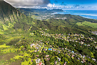 An aerial view of He'eia, Kaneo'he Bay and the Ko'olau Range, Windward O'ahu.