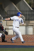University of Kentucky Wildcats infielder Matt Reida #6 at bat during a game against the University of Virginia Cavaliers at Brooks Field on the campus of the University of North Carolina at Wilmington on February 14, 2014 in Wilmington, North Carolina. Kentucky defeated Virginia by the score of 8-3. (Robert Gurganus/Four Seam Images)