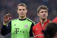 FUSSBALL  CHAMPIONS LEAGUE  VIERTELFINALE  HINSPIEL  2012/2013      FC Bayern Muenchen - Juventus Turin       02.04.2013 Torwart Manuel Neuer (li) und Thomas Mueller (re, beide FC Bayern Muenchen)