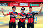 BMC Racing Team lead the team classification at the end of Stage 6 of the La Vuelta 2018, running 150.7km from Huércal-Overa to San Javier, Mar Menor, Sierra de la Alfaguara, Andalucia, Spain. 30th August 2018.<br /> Picture: Unipublic/Photogomezsport | Cyclefile<br /> <br /> <br /> All photos usage must carry mandatory copyright credit (© Cyclefile | Unipublic/Photogomezsport)