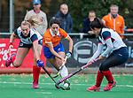 HUIZEN - Hockey - Pili Romang (Bldaal)  met Vera van Schagen (HUI) en Mirte Jansen (HUI)  .Hoofdklasse hockey competitie, Huizen-Bloemendaal (2-1) . COPYRIGHT KOEN SUYK