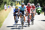 Omar Fraile (ESP) Astana Pro Team heads the breakaway group during Stage 14 of the 2018 Tour de France running 188km from Saint-Paul-Trois-Chateaux to Mende, France. 21st July 2018. <br /> Picture: ASO/Pauline Ballet | Cyclefile<br /> All photos usage must carry mandatory copyright credit (&copy; Cyclefile | ASO/Pauline Ballet)