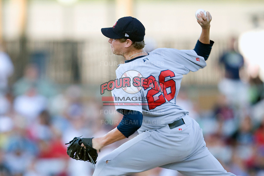 Arkansas Travelers pitcher Garrett Richards #26 delivers during the first inning of the Texas League All Star Game played on June 29, 2011 at Nelson Wolff Stadium in San Antonio, Texas. The South defeated the North 3-2 in the contest. (Andrew Woolley / Four Seam Images)