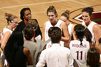14 January 2006: Krista Rappahahn, Charmin Smith, Brooke Smith, Jillian Hamron and Candice Wiggins during Stanford's 87-75 win over the California Golden Bears at Maples Pavilion in Stanford, CA.