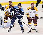 Mike Seidel (Duluth - 17), Ryan Hegarty (Maine - 44), Travis Oleksuk (Duluth - 11) - The University of Minnesota Duluth Bulldogs defeated the University of Maine Black Bears 5-2 in their NCAA Northeast semifinal on Saturday, March 24, 2012, at the DCU Center in Worcester, Massachusetts.