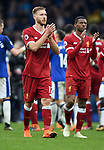 Ragnar Klavan of Liverpool thanks the fans at the end of the premier league match at Goodison Park Stadium, Liverpool. Picture date 7th April 2018. Picture credit should read: Robin Parker/Sportimage