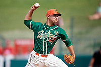 Greensboro Grasshoppers relief pitcher Vincenzo Aiello (34) delivers a pitch during a game against the Lakewood BlueClaws on June 10, 2018 at First National Bank Field in Greensboro, North Carolina.  Lakewood defeated Greensboro 2-0.  (Mike Janes/Four Seam Images)