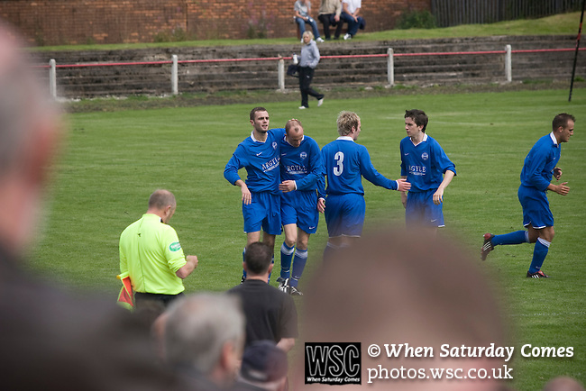 Kirkintilloch Rob Roy 1 Kilsyth Rangers 1, 16/08/2008. Adamslie Park, Sectional League Cup. Kilsyth Rangers players celebrating their team's decisive equaliser against local rivals Kirkintilloch Rob Roy in a Sectional League Cup (Central) Section 8 tie at soon-to-be demolished Adamslie Park, Kirkintilloch. The game ended in a 1-1 draw allowing Kilsyth to progress to the quarter-finals. Junior football was divided into East, West and North sections and played throughout Scotland. It had its own governing body, the SJFA and regional pyramid structure and national cup competition. Photo by Colin McPherson.