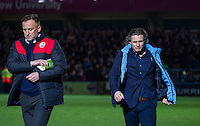 Managers Mark Yates (left) Manager of Crawley Town & Wycombe Wanderers Manager Gareth Ainsworth leave the field during the Sky Bet League 2 match between Wycombe Wanderers and Crawley Town at Adams Park, High Wycombe, England on 28 December 2015. Photo by Kevin Prescod / PRiME Media Images
