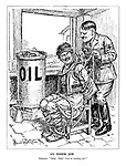 "An Inside Job. Roumania. ""Help! Help! You're hurting me!"" (Hitler ties Romania to a chair while draining its oil into a jug)"