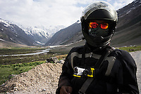 Sanjit Das wears Suzanne Lee's chest-mounted Sony ActionCam POV cameras while on their motorcycle ride Across the Indian Himalayas on Royal Enfield motorcycles. Photo by Suzanne Lee/Panos Pictures