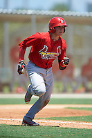 GCL Cardinals catcher Irving Wilson (4) runs to first during the second game of a doubleheader against the GCL Marlins on August 13, 2016 at Roger Dean Complex in Jupiter, Florida.  GCL Cardinals defeated GCL Marlins 2-0.  (Mike Janes/Four Seam Images)