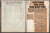 BNPS.co.uk (01202 558833)<br /> Pic: IAA/BNPS<br /> <br /> Sumpters scrapbook contains wartime reports of the raid.<br /> <br /> A fascinating and historic logbook and photographs from a Dambuster's hero who also went on many other famous raids during WW2 has come light. <br /> <br /> The remarkable collection belonged to Flight Sergeant Leonard Sumpter who was a bomb aimer on the iconic Dam's mission, and put together a unique scrapbook of his thrilling wartime career in Bomber Command's most famous squadron.<br /> <br /> As well as the bouncing bomb sortie, the ace bomb aimer also dropped Barnes Wallis's later invention's of massive Tallboy and Grand Slam 'bunker busting' bombs, the largest non nuclear warheads of the war.<br /> <br /> Only the elite 617 squadron were entrusted with delivering these hugely valuable weapons onto their vital targets, that included U-boat pens, V2 rocket sites and even Hitler's Bavarian hideaway the Eagles Nest.<br /> <br /> Also included are pictures Mr Sumpter took in 1947 during a summer excusion to visit some of the sites he had attacked during the conflict.<br /> <br /> Flt Sgt Sumpter's daughter has decided to put the photo album up for auction together with his logbook and his personal scrapbook.