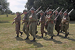 Living History event. Home Guard soldiers marching in formation.