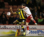 Lucas Akins of Burton Albion tussles with John Brayford of Sheffield Utd - English League One - Sheffield Utd vs Burton Albion - Bramall Lane Stadium - Sheffield - England - 1st March 2016 - Pic Simon Bellis/Sportimage