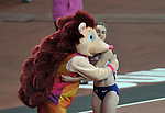 Laura MUIR (GBR) gets a hug from 'HERO the HEDGEHOG' after she finished fourth in the womens 1500m final. IAAF world athletics championships. London Olympic stadium. Queen Elizabeth Olympic park. Stratford. London. UK. 07/08/2017. ~ MANDATORY CREDIT Garry Bowden/SIPPA - NO UNAUTHORISED USE - +44 7837 394578