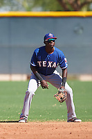 Texas Rangers Frandy De La Rosa (49) during an Instructional League game against the Kansas City Royals on October 4, 2016 at the Surprise Stadium Complex in Surprise, Arizona.  (Mike Janes/Four Seam Images)