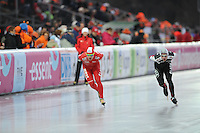 SCHAATSEN: BOEDAPEST: Essent ISU European Championships, 07-01-2012, 5000m Men, Jan Szymanski POL, Haralds Silovs LAT, ©foto Martin de Jong