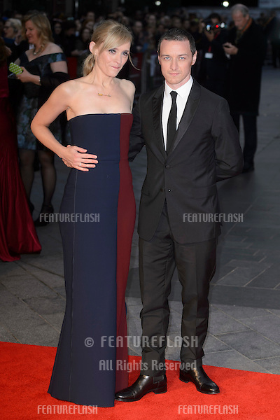 Anne Marie Duff &amp; James McAvoy at the BFI London Film Festival premiere of &quot;Suffragette&quot; at the Odeon Leicester Square, London.<br /> October 7, 2015  London, UK<br /> Picture: Dave Norton / Featureflash