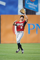 Carolina Mudcats Joseph Daris (7) catches a fly ball during a game against the Frederick Keys on June 4, 2016 at Nymeo Field at Harry Grove Stadium in Frederick, Maryland.  Frederick defeated Carolina 5-4 in eleven innings.  (Mike Janes/Four Seam Images)