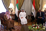 "Bahraini Foreign Minister Khalid bin Ahmed al-Khalifa, Egyptian Foreign Minister Sameh Shoukry, Saudi Foreign Minister Adel al-Jubeir, and UAE Minister of Foreign Affairs and International Cooperation Abdullah bin Zayed Al-Nahyan meet in the Egyptian capital Cairo on July 5, 2017, to discuss the Gulf diplomatic crisis with Qatar, as Doha called for dialogue to resolve the dispute. The Saudi foreign ministry said on July 5, 2017 that it had received Qatar's response to a 13-point list of demands issued on June 22 -- which include Doha ending support for the Muslim Brotherhood and closing broadcaster Al-Jazeera -- and would respond ""at the right time"". Photo by Stranger"
