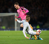 5th October 2017, Hampden Park, Glasgow, Scotland; FIFA World Cup Qualification, Scotland versus Slovakia; Slovakia's Peter Pekarik tackles Scotland's Andy Robertsonx