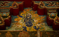 Art in a Buddhist Monastery, Sikkim, India - ancient mural wall painting