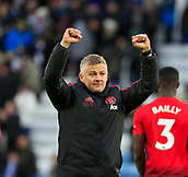 3rd February 2019, King Power Stadium, Leicester, England; EPL Premier League Football, Leicester City versus Manchester United; Manchester United manager Ole Gunnar Solskjaer celebrates the victory at the end of the game