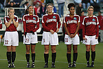 05 December 2008: Stanford's Allison McCann (22), Christen Press (23), Hillary Heath (21), Austinn Freeman (20), and Kelley Birch (12). The Notre Dame Fighting Irish defeated the Stanford Cardinal 1-0 at WakeMed Soccer Park in Cary, NC in an NCAA Division I Women's College Cup semifinal game.