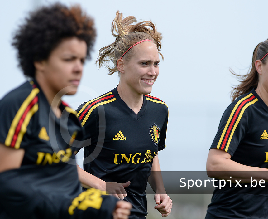 20180304 - LARNACA , CYPRUS :  Belgian Janice Cayman pictured during a Matchday -1 training from The Belgian Red Flames prior to their game against Austria , on Sunday 4 March 2018 at the Alpha Sports Grounds in Larnaca , Cyprus . This will be the third game in group B for Belgium during the Cyprus Womens Cup , a prestigious women soccer tournament as a preparation on the World Cup 2019 qualification duels. PHOTO SPORTPIX.BE | DAVID CATRY