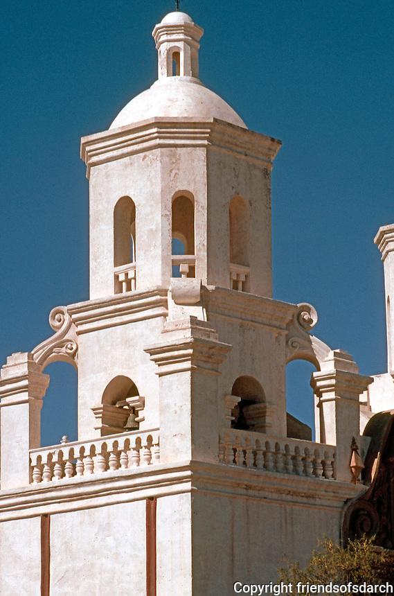 AZ: Tucson--San Xavier, Belfry, detail. Late afternoon light. Photo '96.