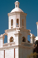 AZ: Tucson--San Xavier, Belfry, detail. Late afternoon light. Photo '96.