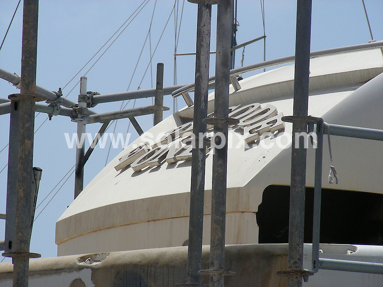 **ALL ROUND EXCLUSIVE PICTURES FROM SOLARPIX.COM**.**WORLDWIDE SYNDICATION RIGHTS EXCLUDING SPAIN - NO PUBLICATION IN SPAIN**.kate Middleton's uncle Gary Goldsmith's yacht in Ibiza being repaired in the harbour.  Prince Willaim & Kate stayed where photographed on this boat in 2006...This pic: Goldsmith Yacht..JOB REF:9550         RAM       DATE:21.07.09 .**MUST CREDIT SOLARPIX.COM OR DOUBLE FEE WILL BE CHARGED**.**NO ONLINE USAGE BEFORE FEE AGREED**.**CALL SOLARPIX : +34 952 811 768 or LOW RATE FROM UK 0844 617 7637**
