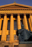 AJ4306, Philadelphia, museum, Pennsylvania, Statue of John Marshall outside the Philadelphia Museum of Art at sunset in downtown Philadelphia in the state of Pennsylvania.